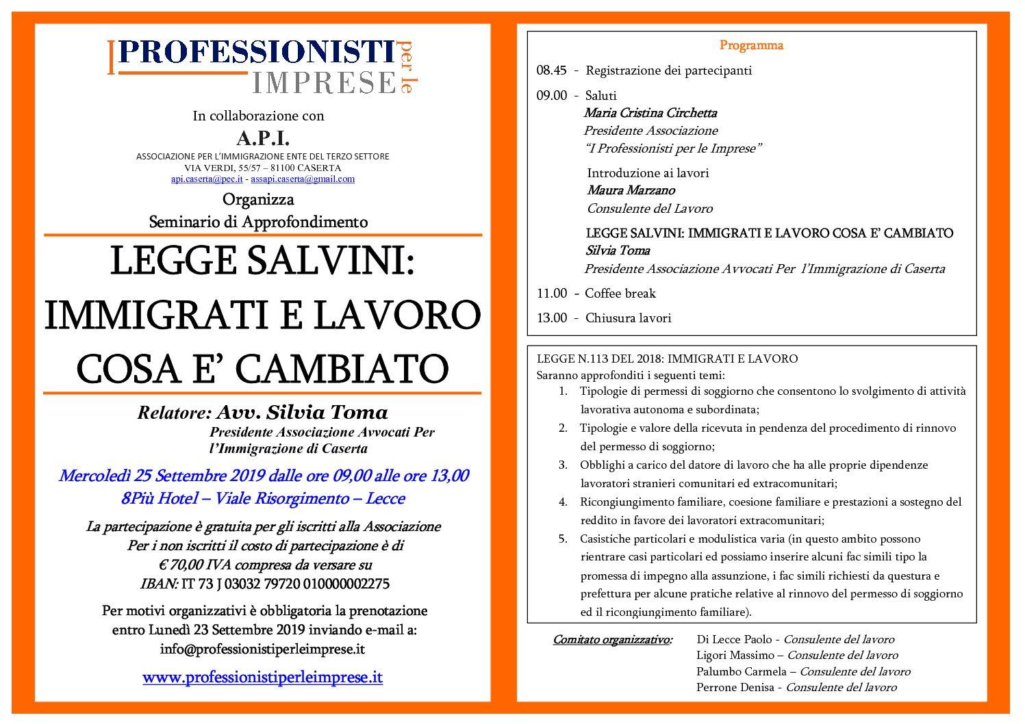 Legge Salvini: Immigrati e Lavoro Cosa è Cambiato – Mercoledì 25 settembre 2019