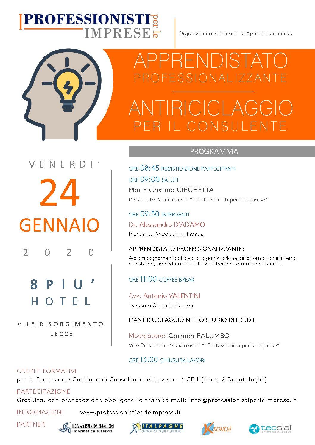 """Seminario """"APPRENDISTATO PROFESSIONALIZZANTE - ANTIRICICLAGGIO PER IL CONSULENTE"""" - Venerdì 24 Gennaio 2020"""