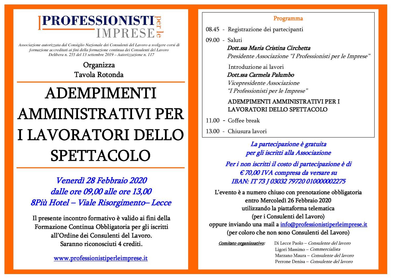 """Tavola Rotonda """"ADEMPIMENTI AMMINISTRATIVI PER I LAVORATORI DELLO SPETTACOLO"""" - Venerdì 28 Febbraio 2020"""