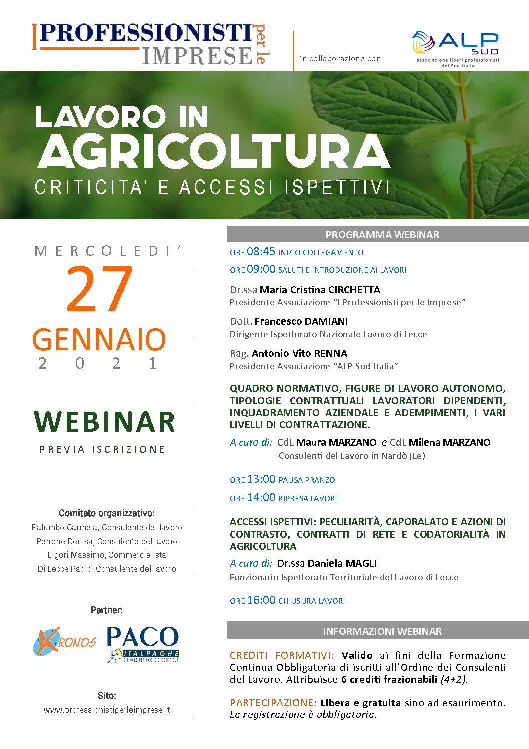 """VIDEOCONFERENZA """"LAVORO IN AGRICOLTURA: CRITICITA' E ACCESSI ISPETTIVI"""" - MERCOLEDI' 27 GENNAIO 2021"""